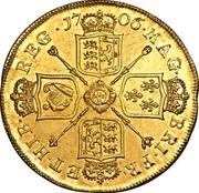 UK 5 Guineas Anne 1706 KM# 521 MAG BR ∙ FRA ET ∙ HIB REG ∙ coin reverse