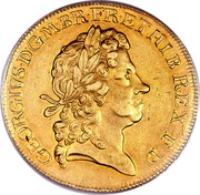 UK 5 Guineas George I 1716 KM# 547 GEORGIVS ∙ D ∙ G ∙ M ∙ BR ∙ FR ∙ ET ∙ HIB ∙ REX ∙ F ∙ D ∙ coin obverse