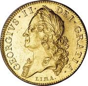 UK 5 Guineas George II (5 Guineas) 1746 KM# 586.1 GEORGIVS ∙ II ∙ DEI ∙ GRATIA coin obverse