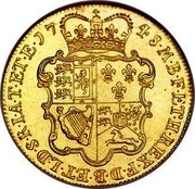 UK 5 Guineas George II (5 Guineas) 1748 KM# 586.2 F ∙ D ∙ B ∙ ET ∙ L ∙ D ∙ S ∙ R ∙ I ∙ A ∙ T ∙ ET ∙ E ∙ M ∙ B ∙ F ∙ ET ∙ H ∙ REX ∙ coin reverse