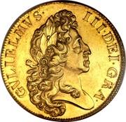 UK 5 Guineas William III 1701 KM# 508 GVLIELMVS ∙ III ∙ DEI ∙ GRA ∙ coin obverse