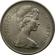UK 5 New Pence Elizabeth II 1968 KM# 911 D∙G∙REG∙F∙D∙1981 ELIZABETH∙II coin obverse