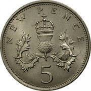 UK 5 New Pence Elizabeth II 1968 KM# 911 NEW PENCE 5 coin reverse
