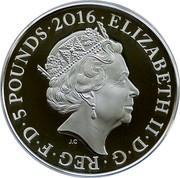 UK 5 Pounds Jutland 2015 British Royal Mint Proof KM# 1295 ELIZABETH II∙D∙G∙REG∙F∙D∙5 POUNDS∙2016∙ J.C coin obverse