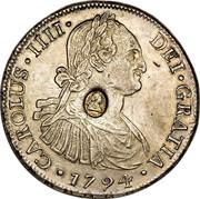 UK 5 Shillings Countermarked 1791-1808 CM Date: ND(1797) KM# 627 CAROLUS IIII DEI GRATIA coin obverse