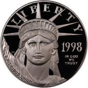 USA $50 American Eagle 1998 W KM# 291 LIBERTY 1998 E PLURIBUS UNUM IN GOD WE TRUST coin obverse
