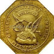USA $50 Fifty Dollars 1851 KM# 31.2a Dunbar & Company UNITED STATES OF AMERICA FIFTY DOLLS 887 THOUS coin obverse