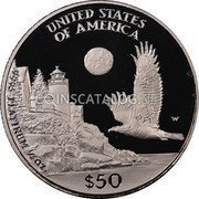 USA $50 Fifty Dollars American Platinum Eagle 1998 W KM# 291 UNITED STATES OF AMERICA .9995 PLATINUM 1/2 OZ. $50 W coin reverse