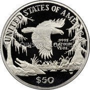 USA $50 Fifty Dollars American Platinum Eagle 1999 W KM# 303 UNITED STATES OF AMERICA .9995 PLATINUM ½ OZ. W $50 coin reverse