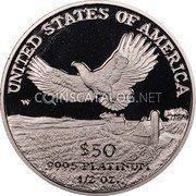 USA $50 Fifty Dollars Platinum American Eagle 2000 W KM# 316 UNITED STATES OF AMERICA .9995 PLATINUM 1/2 OZ. $50 W coin reverse