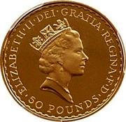 UK 50 Pounds Britannia 1997 Proof KM# 984 ELIZABETH'II'DEI'GRATIA'REGINA'F'D '50 POUNDS' RDM coin obverse