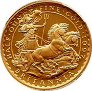 UK 50 Pounds Britannia 1997 Proof KM# 984 HALF'OUNCE'FINE'GOLD'1997 PN BRITANNIA coin reverse