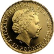 UK 50 Pounds Britannia 2004 British Royal Mint Proof KM# 1010 ELIZABETH'II'D'G REG'FID'DEF '50'POUNDS' IRB coin obverse