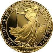 UK 50 Pounds Britannia 2004 British Royal Mint Proof KM# 1010 '1/2'OUNCE'FINE' 'GOLD' 'BRITANNIA'2002' P.NATHAN coin reverse
