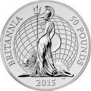 UK 50 Pounds Britannia 2015 British Royal Mint KM# 1307 BRITANNIA 50 POUNDS 2015 J.C coin reverse