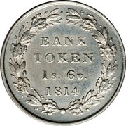 UK Bank Token 1s. 6d. George III 1814 KM# Tn3 BANK TOKEN 1s. 6D. YEAR coin reverse