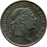 UK Bank Token 3 Shill. George III 1813 KM# Tn5 GEORGIUS III DEI GRATIA REX coin obverse