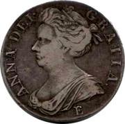 UK Crown Anne E below bust 1707 KM# 526.1 ANNA∙DEI∙ GRATIA∙ E coin obverse