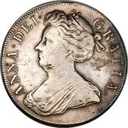 UK Crown Anne no E below bust 1707 KM# 526.2 ANNA ∙ DEI ∙ - GRATIA ∙ coin obverse