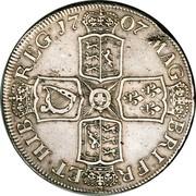 UK Crown Anne no E below bust 1707 KM# 526.2 MAG - BRI FR - ET ∙ HIB - REG ∙ coin reverse
