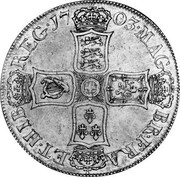 UK Crown Anne no plumes in angles 1703 KM# 519.1 MAG - BR ∙ FRA - ET HIB - REG ∙ coin reverse