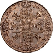 UK Crown Anne Plumes in angles 1707 KM# 526.3 MAG∙ BRI∙FR∙ ET∙HIB∙ REG ∙17 07∙ coin reverse