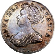 UK Crown Anne roses and plumes in angles 1706 KM# 519.3 ANNA ∙ DEI ∙ - GRATIA ∙ coin obverse