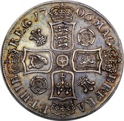UK Crown Anne roses and plumes in angles 1706 KM# 519.3 MAG - BR ∙ FRA - ET HIB - REG ∙ coin reverse