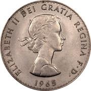 UK Crown Death of Winston Churchill 1965 Specimen KM# 910 ELIZABETH II DEI GRATIA REGINA F∙D∙ 1965 coin obverse