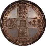 UK Crown George II 1746 Proof KM# 585.2 F ∙ D ∙ B ∙ - ET ∙ L ∙ D ∙ S ∙ R ∙ I ∙ - A ∙ T ∙ ET ∙ E ∙ - M ∙ B ∙ F ∙ ET ∙ - H ∙ REX ∙ coin reverse