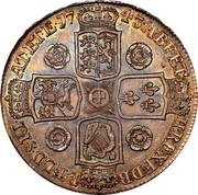 UK Crown George II Roses 1743 KM# 585.1 F ∙ D ∙ B ∙ - ET ∙ L ∙ D ∙ S ∙ R ∙ I ∙ - A ∙ T ∙ ET ∙ E ∙ - M ∙ B ∙ F ∙ ET ∙ - H ∙ REX ∙ coin reverse