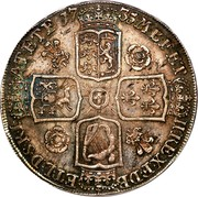 UK Crown George II Roses and plumes 1735 KM# 575.1 F ∙ D ∙ B ∙ - ET ∙ L ∙ D ∙ S ∙ R ∙ I ∙ - A ∙ T ∙ ET ∙ E ∙ - M ∙ B ∙ F ∙ ET ∙ - H ∙ REX ∙ coin reverse