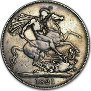UK Crown George IIII 1821 Proof KM# 680.1 B. P. coin reverse