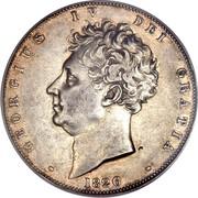UK Crown George IV 1826 Proof. LVIII on edge KM# 699 GEORGIUS IV DEI GRATIA coin obverse