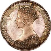 UK Crown Victoria 1847 Proof. Plain edge KM# 744 VICTORIA DEI GRATIA BRITANNIAR. REG: F:D. coin obverse