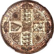 UK Crown Victoria 1847 Proof. Plain edge KM# 744 TUEATUR UNITA DEUS, ANNO DOM MDCCCXLVII coin reverse