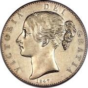 UK Crown Victoria 1847 KM# 741 VICTORIA DEI GRATIA coin obverse