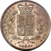 UK Crown Victoria 1847 KM# 741 BRITANNIARUM REGIBA FID: DEF: coin reverse