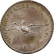 USA Disme US Liberty Parent of Science and Industry 1792 KM# PnB1 UNITED STATES OF AMERICA DISME coin reverse