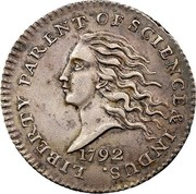 USA Disme US Liberty Parent of Science and Industry 1792 Reeded Edge; Judd# 10 KM# PnB1 LIBERTY PARENT OF SCIENCE & INDUS. coin obverse