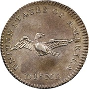 USA Disme US Liberty Parent of Science and Industry 1792 Reeded Edge; Judd# 10 KM# PnB1 UNITED STATES OF AMERICA DISME coin reverse