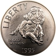 USA Dollar Civil War 1995 P KM# 255 LIBERTY IN GOD WE TRUST coin obverse