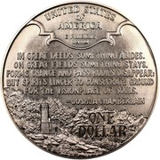 USA Dollar Civil War 1995 P KM# 255 UNITED STATES OF AMERICA E PLURIBUS UNUM IN GREAT DEEDS SOMETHING ABIDES. ON GREAT FIELDS SOMETHING STAYS. FORMS CHANGE AND PASS. BODIES DISAPPEAR. BUT SPIRITS LINGER TO CONSECRATE GROUND FOR THE VISIONPLACE OF SOULS. - JOSHUA CHAMBERLAIN ONE DOLLAR coin reverse