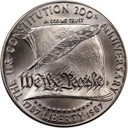 USA Dollar Constitution Bicentennial 1987 P KM# 220 THE U.S. CONSTITUTION 200TH ANNIVERSARY LIBERTY 1987 IN GOD WE TRUST coin obverse