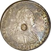 UK Dollar Countermark on Bolivia (Potosi) 8 Reales KM#73.1 ND Host Date: 1791-1804 KM# 653 CAROLUS IIII DBI GRATIA coin obverse