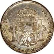 UK Dollar Countermark on Bolivia (Potosi) 8 Reales KM#73.1 ND Host Date: 1791-1804 KM# 653 HISPAN∙ET IND∙REX∙ MO ∙ 8R ∙F∙F∙ coin reverse