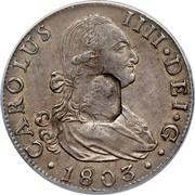 UK Dollar Countermark on Spanish (Seville) 8 Reales ND Host Date: 1788-1803 KM# 659.2 CAROLUS IIII∙DEI∙G∙ ∙1803∙ coin obverse