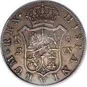 UK Dollar Countermark on Spanish (Seville) 8 Reales ND Host Date: 1788-1803 KM# 659.2 HISPANIARUM∙REX∙ R S 8 C∙N coin reverse