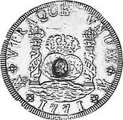 UK Dollar Countermarked 1760-1771 CM Date: ND(1797) KM# 631 VTRAQUE VNUM PLUS VLTR M *YEAR* M coin obverse
