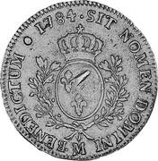 UK Dollar Countermarked 1774-1792 CM Date: ND(1797) KM# 628 ∙*YEAR*∙SIT NOMEN DOMINI M ∙BENEDICTUM coin reverse
